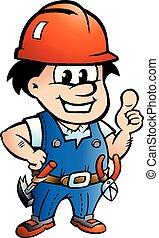 wektor, pracownik, majster do wszystkiego, ilustracja, rysunek, zbudowanie, albo, szczęśliwy