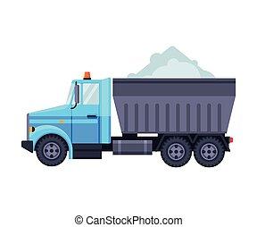 wektor, profesjonalny, pojazd, ilustracja, ciężki, droga, śnieg, wózek, czyszczenie, załadowany