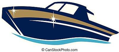 wektor, projektować, łódka