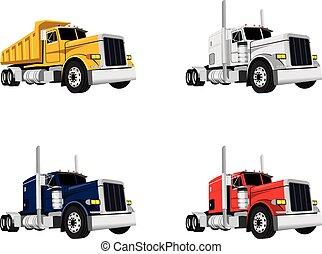 wektor, projektować, ciężarówki