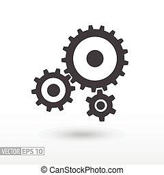 wektor, projektować, logo, gears., znak, icon., przybory, ruchomy, płaski, sieć, infographics