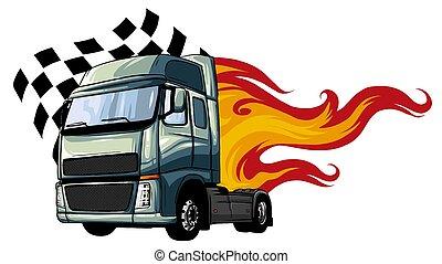 wektor, projektować, pół, ilustracja, rysunek, truck.