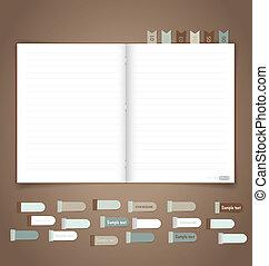 wektor, przypomnienie, notatnik, eps10, note.