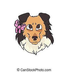 wektor, psi, mascot., odizolowany, różowy, fluffy., rysunek, sheepdog, clipart., salon, psiarnia, pies, krajowy, owczarek szkocki, genealogia, twarz, eps, lovers., pieszczoch, szczeniak, szorstki, ilustracja, 10., purebred, sprytny, łuk