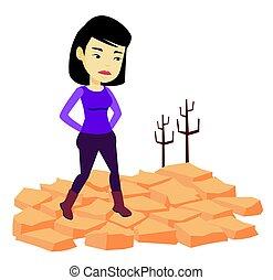 wektor, pustynia, kobieta, illustration., smutny