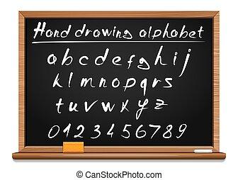 wektor, ręka, szkoła, blackboard., alphabet., chrzcielnica, rysunek