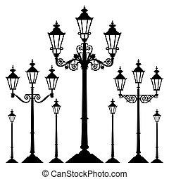 wektor, retro, uliczne światło