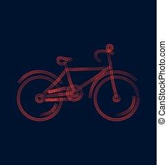 wektor, rower, ilustracja, stylizowany