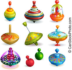 wektor, ruch, zabawka, barwny, dzieciaki, dziecinny, górny, odizolowany, ilustracja, biały, prządka, przędzenie, komplet, gra, tło, kręćcie, brzęczący, interpretacja, korkociąg, whirligig, rysunek