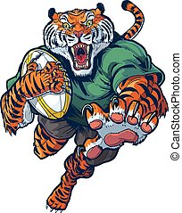 wektor, rugby, rysunek, tiger, maskotka