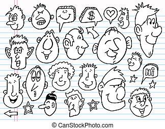 wektor, rys, doodle, komplet, notatnik