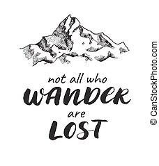 wektor, rys, rysunek, handwrited, góra, quote.