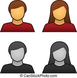 wektor, samiec, avatar, samica, ikony