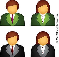 wektor, samiec, samica, handlowe ikony