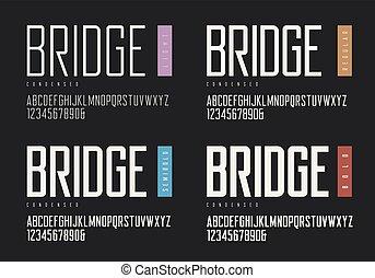 wektor, sans, śmiały, typefac, regularny, semibold, serif., condensed, lekki