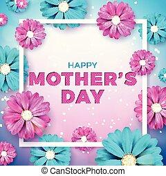 wektor, serce, kwiat, poster., chorągiew, matki, lotnik, graficzny, ilustracja, powitanie, zaproszenie, tło., elementy, projektować, broszura, szablon, celebrowanie, dzień, karta, szczęśliwy