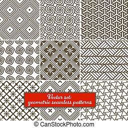 wektor, set:, 9, geometryczny, patterns., seamless