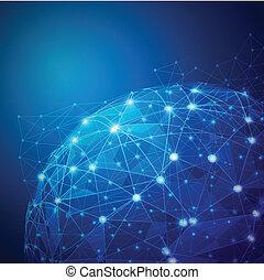 wektor, sieć, cyfrowy, oczko, globalny, ilustracja