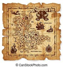 wektor, skarb mapa, starożytny