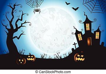 wektor, spooky, scena, tło, halloween, błękitny