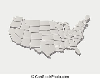 wektor, stany zjednoczony, mapa, 3d