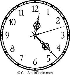 wektor, stary, ilustracja, zegar