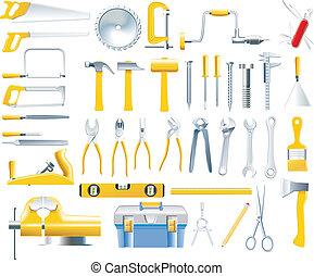 wektor, stolarz, komplet, narzędzia, ikona