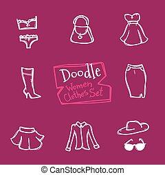 wektor, styl, fason, ikony, doodle, set., zbiór, ręka, obiekty, pociągnięty, odzież, kobiety