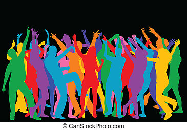 wektor, sylwetka, dancers-colored
