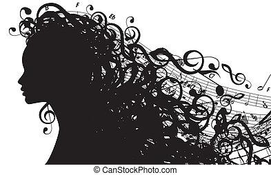 wektor, sylwetka, głowa, symbolika, samica, muzyczny