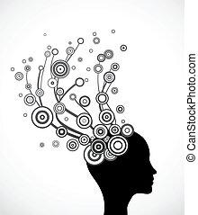 wektor, sylwetka, hair., abstrakcyjna twarz, kobieta