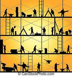 wektor, sylwetka, praca, pracownik, ilustracja, zbudowanie