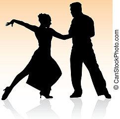 wektor, sylwetka, taniec, kolor, para, tango, tło., ciepły