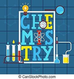 wektor, symbolika, liquids., ikony, illustration., dzieci, książka, graficzny, barwny, afisz, wyroby szklane, nauka, chemia, beletrystyka, osłona, ułożyć, laboratorium