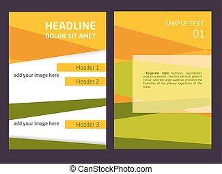 wektor, szablon, abstrakcyjny, broszura, lotnik, projektować, a4, tło, pomarańcza, zielony, size.