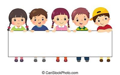 wektor, szablon, ilustracja, czysty, dzieciaki, rysunek, reputacja, banner., znak, za, advertising.