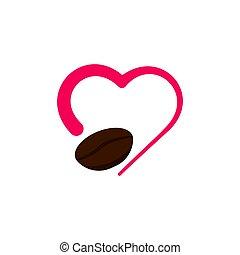 wektor, szablon, kawa, ilustracja, projektować, miłość