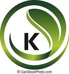 wektor, szablon, logo, projektować, początkowy, k, liść
