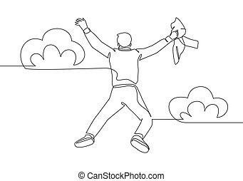 wektor, szczęśliwy, ciągły, jego, młody, projektować, energiczny, celebrowanie, na, poza, cloud., powietrze, skokowy, człowiek, napinać, pojęcie, kreskówka, handlowa ilustracja, siła robocza, zaciągnąć, jeden