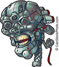 wektor, sztuka, robot, zacisk, czaszka