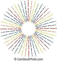 wektor, tęcza koloruje, starburst