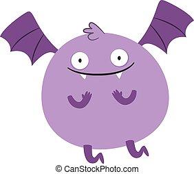wektor, tło., ilustracja, purpurowy, potwór, biały