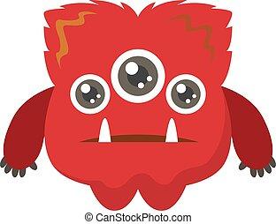 wektor, tło., ilustracja, smutny, czerwony, potwór, biały