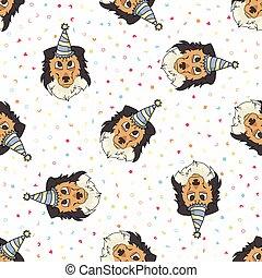wektor, tło., pattern., pooch., purebred, wszystko, eps, 10., owczarek szkocki, na, ręka, sheepdog, pies, kochanek, psiarnia, szorstki, partia, sprytny, print., szczeniak, pieszczoch, twarz, pociągnięty, seamless, genealogia, kapelusz, celebrowanie