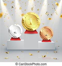 wektor, tło., podium, zwycięzca, confetti.