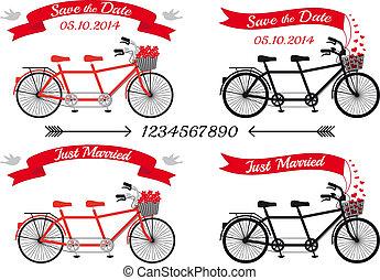 wektor, tandemowe rowery, komplet, ślub