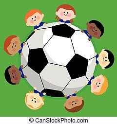 wektor, team., soccer piłka nożna, ilustracja, dzieciaki