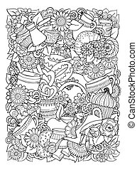 wektor, template., doodle, hand-drawn, kawa, projektować, herbata, illustration.