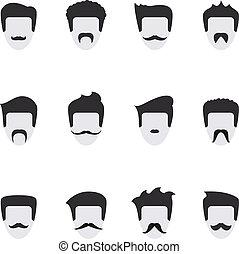 wektor, twarz, komplet, wąsy, ikony