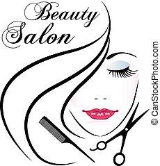 wektor, twarz, logo, kobieta, ładny, salon piękna